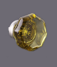 "Champagne Cut Glass Octagon Nickel Drawer Knob 1 7/16"""