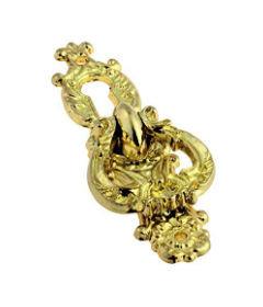 Baroque Bright Brass Keyhole Cover Escutcheon Plate