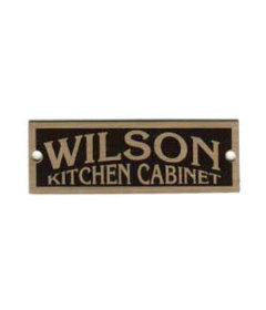 "Brass Wilson Cabinet Label - Grand Rapids, MI - 2"" Wide x 3/4"" High."