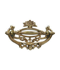 """Brass Victorian Floral Basket Bail Pull: 3"""" Centers"""