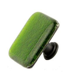 "Square Green Glass Black Drawer Knob 1 1/2"""
