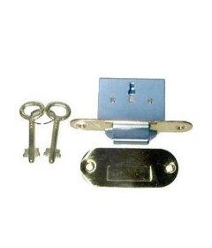 Brass Full Mortise Round Roll Top Desk Lock & Skeleton Keys