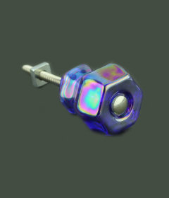 "Antique Depression Blue Rainbow Glass Drawer Knob1-1/4"""