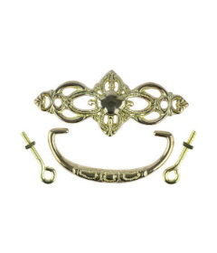 "Cast Brass Clover Design Victorian Bail Pull Centers: 3"""