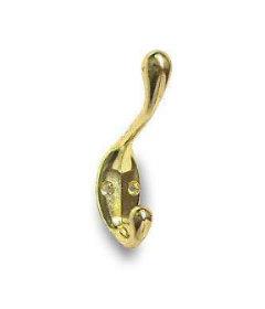 """Brass Plated Heavy Duty Coat  Hook - 3 1/2"""""""