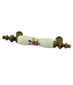 Antique Brass With White Ceramic Floral Drawer Pull Centers: 3""