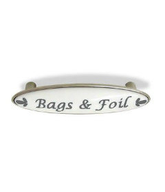 """Bags & Foil Satin Nickel w/White Ceramic Gray Letters Drawer Pull Centers: 3"""""""