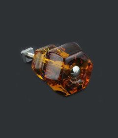 "Antique Depression Amber Glass Drawer Knob 1-1/2"""