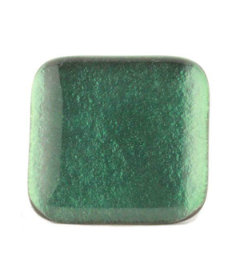 Square Sea Green Glass Satin Nickel Drawer Knob 1 1/2""
