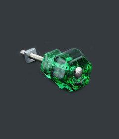 "Antique Depression Emerald Glass Drawer Knob 1-1/4"""