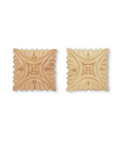 """Large Pair Carved Square Medallions Applique - 5"""" X 5"""""""