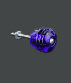 "Antique Depression Cobalt Blue Glass Cask Drawer Knob  1-1/8"""