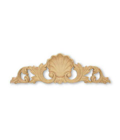 """Shell Wood Carving Applique - 13.5"""" X 5/8"""""""