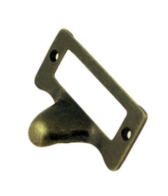 Antique Brass-Die Cast Metal File Label Holder with Finger Pull