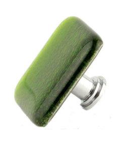 "Square Green Glass Chrome Drawer Knob 1 1/2"""