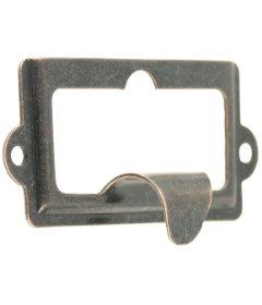 """Antique Copper (Bronze) Cabinet Label Holder w/ Finger Pull - 2 1/2"""""""