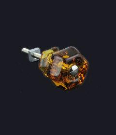 "Antique Depression Amber Glass Drawer Knob 1-1/4"""