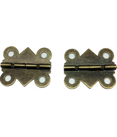 """Antique Brass Pair (2) Small Box Hinges 1"""" x 3/4"""""""