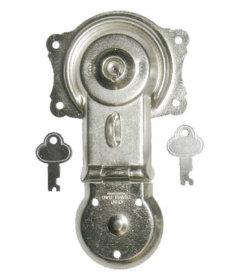 "Nickel Plated Steel Flush Mount Trunk Lock With Keys-6-1/2"""