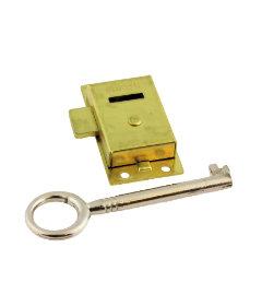 Brass Plated Flush Mount Cabinet & Cupboard Drawer Lock