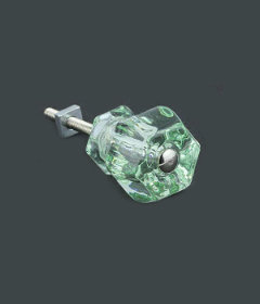 "Antique Depression Transparent Green Glass Drawer Knob 1-1/4"""