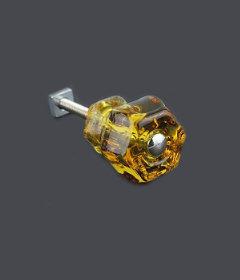 "Antique Depression Honey Amber Glass Drawer Knob 1-1/4"""