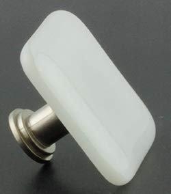 "Square White Glass Satin Nickel Drawer Knob 1 1/2"""