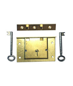 Large Brass Half Mortise Chest Lock with Skeleton Key