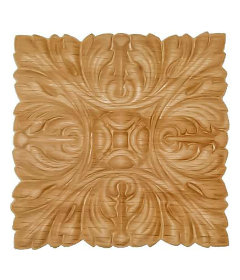 "Veneered Oak Acantus Decorative Ornament Square Applique - 5"" x 5"""