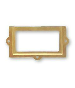 """4-Pak Brass Plated Cabinet Label Holders With Nails 1-3/8"""" X 2-5/8"""""""