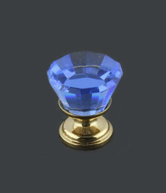 "Blue Cut Glass Gold Plated Drawer Knob  7/8"""