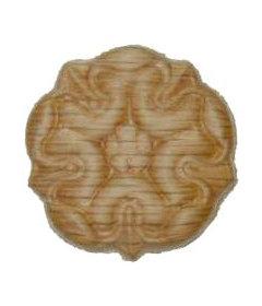 "Veneered Oak Decorative Floral Medallion Ornament Round Applique - 1-1/4"""