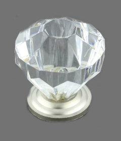 "Clear Acrylic Satin Nickel Base Drawer Knob 1 1/4"""