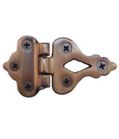 "Antiqued Cast Brass Offset Ice Box Hinge 3 1/2"" Long x 1 7/8"" High"
