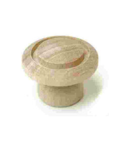 """Wood Birch Unfinished Turned Top Flute Drawer Knob 1-1/2"""""""