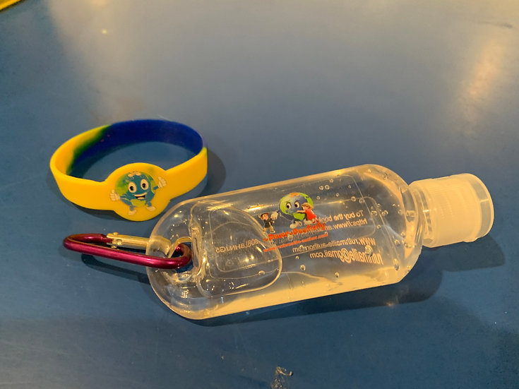Orbit Wrist band and hand sanitizer with clip