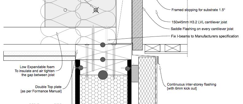 Midfloor Detail SIP wall Timber Floor + Balcony