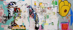 cande Aguilar_Past the Shock_2008_mixed media on panel_96x240in