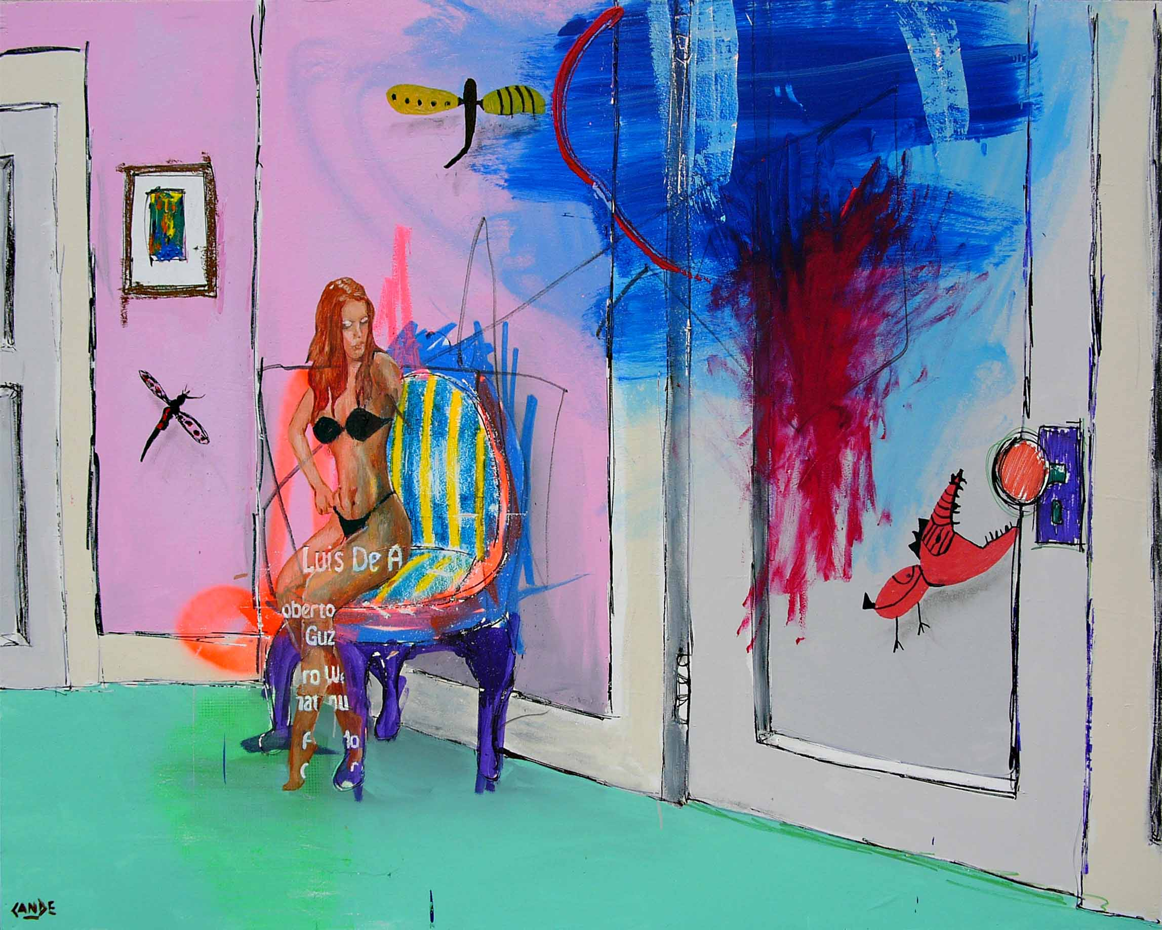 cande aguilar_Where is your Eternity_2009_multimedia painting on panel_ 48x60in