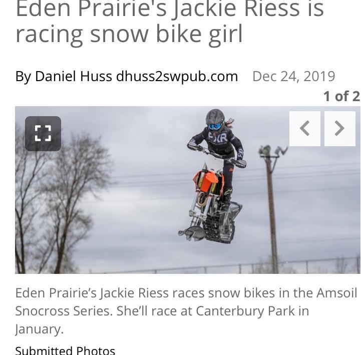 Jackie Riess in the Eden Prairie News