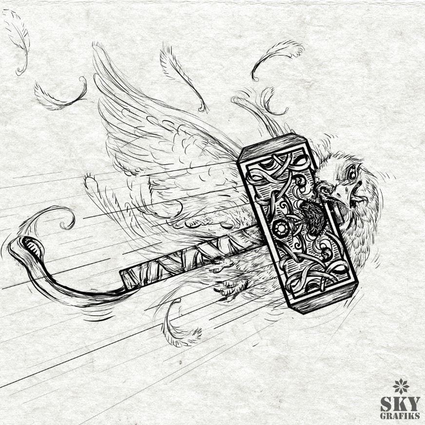 Sky_grafiks_artist_designer_creative_art_posters_logos_illustration_thors_hammer_tools_birds