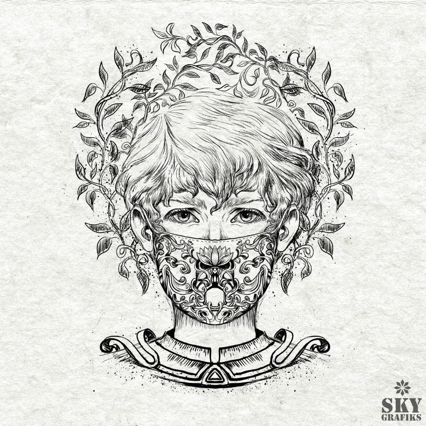 Sky_grafiks_artist_Designer_illustration_corona_mask_artistic_drawing_covid19