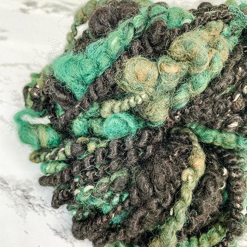 Green + Black Art Yarn - 35 yd