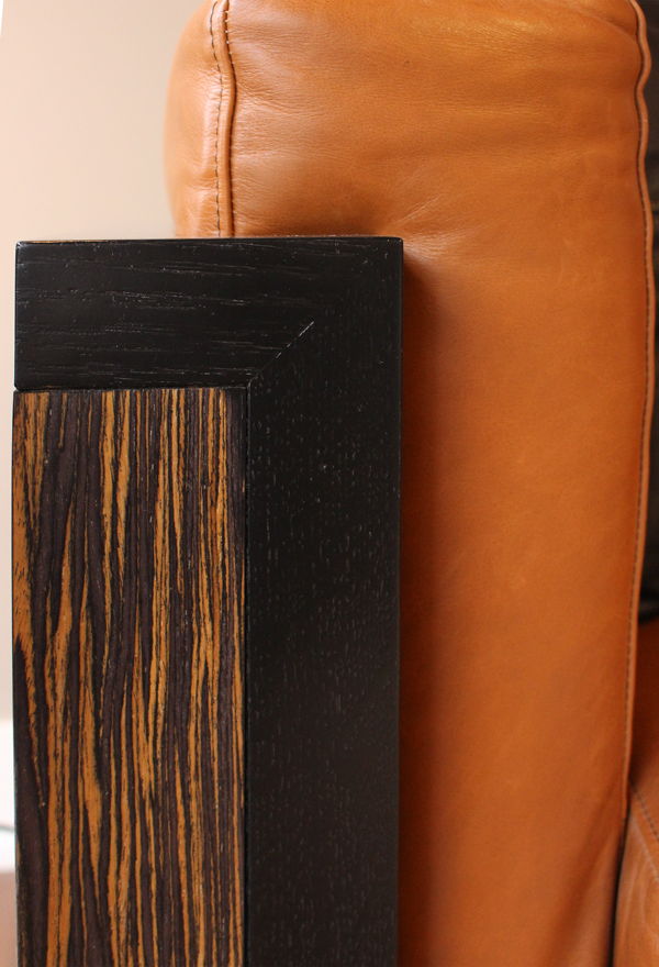 SUPPLE LEATHER WITH DARK WOOD FRAME