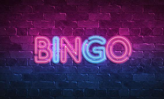 bingo neon sign. purple and blue glow. n