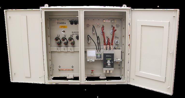 Transformador Trifásico Tipo pedestal Radial 500 kVA 15/1,2kV con doble votaje en BT e interruptor termomagnético
