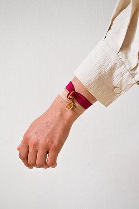 Le Grigri Cauri Coloré Framboise avec Estampe