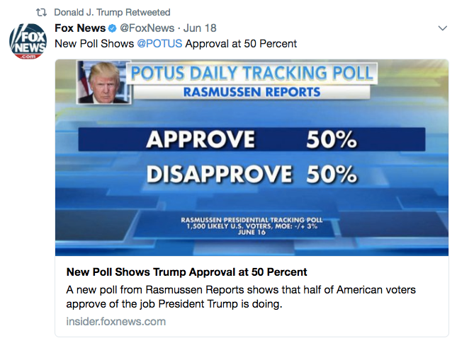 Trump retweets graphic showing that half the country hates him