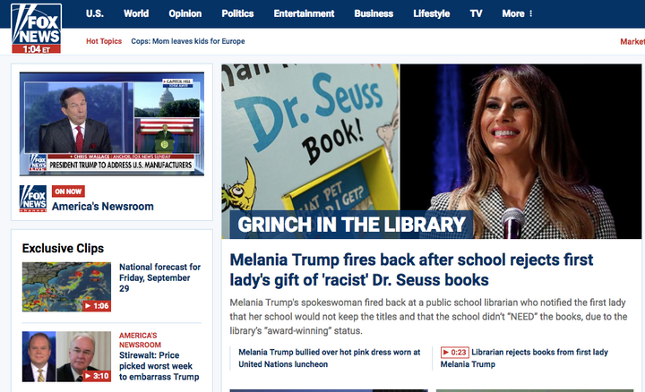 This was the top story on Fox News' website this morning (hint: it wasn't Puerto Rico)