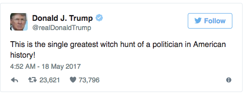 Crybaby witch hunter Trump can't stop whining about witch hunts